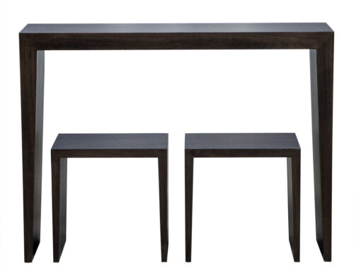 Carrocel Custom Walnut Console Table and Stool Set