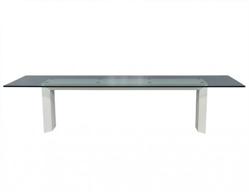 Custom Bevelled Glass Top With Lacquered Base Modern Dining Table