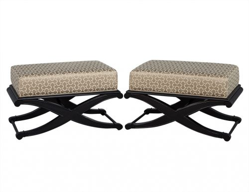 Pair of Modern Style Satin Black Ottomans