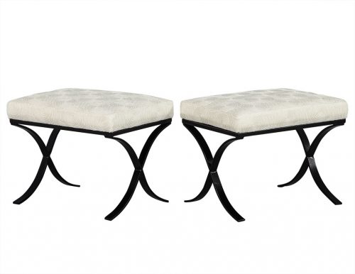 Pair of Black Metal Base Ottomans