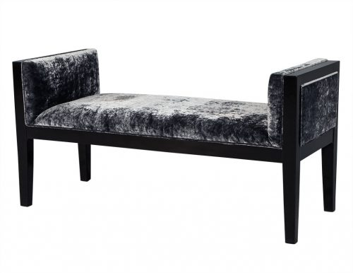 Mid Century Modern Black Lacquered Bench