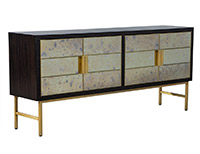 Carrocel Custom Modern Walnut Mirrored Sideboard Buffet