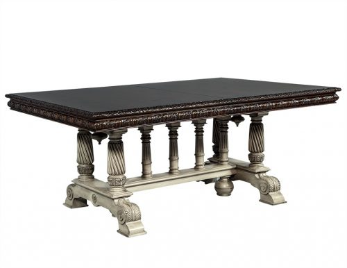 Traditional Carved Flame Mahogany Dining Table