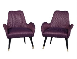 Vintage Italian Zanuso-Style Purple Parlor Chairs