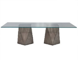 Custom Glass-Top Dining Table with Geometric Pedestals