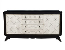 Antique Art Deco Ebonised Leather Sideboard Buffet Credenza