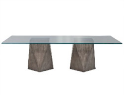 Custom Modern Geometric Pedestals Glass Top Dining Table