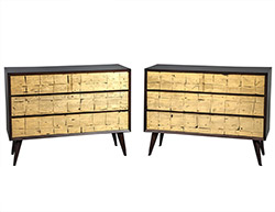 Pair of Vintage Mid Century Modern Walnut Gold Leafed Chests of Drawers