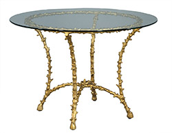 Vintage Bagues Faux Bamboo French Gilt Round Brass Table