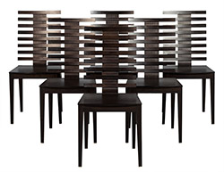 Set of 6 Slat Back Dining Chairs