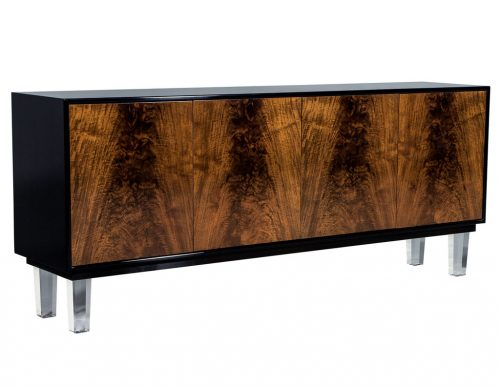 Carrocel Custom Walnut and Acrylic Modern Credenza