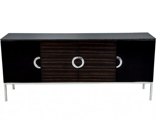 Carrocel Custom Modern Black Lacquer Walnut Sideboard Buffet Credenza
