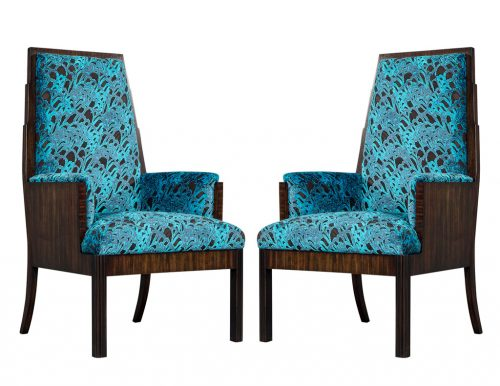 Pair of Vintage Makassar Ebony Arm Chairs