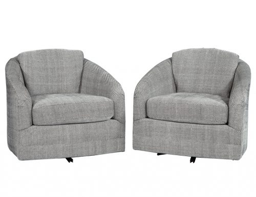 Pair of Grey and White Patterned Swivel Lounge Chairs Attributed to Milo Baughman