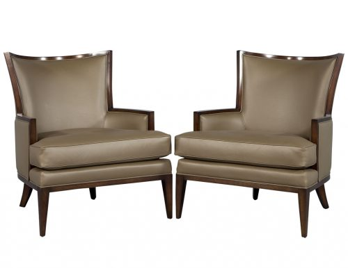 Pair of Carrocel Custom Leather Modern Wing Arm Chairs