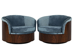 Pair of Milo Baughman Rosewood Swivel Tub Chairs