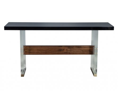 Carrocel Custom Modern Acrylic Black Lacquer and Walnut Console