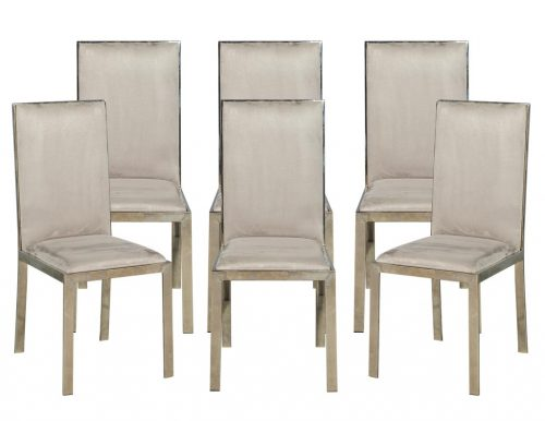 Set of 6 Vintage Mid Century Modern Italian Brass Dining Chairs