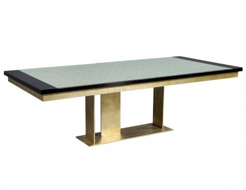 Carrocel Custom Modern Glass Top Dining Table with Brass Base