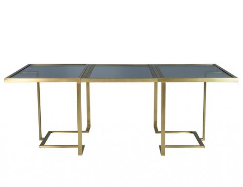 Carrocel Custom Modern Brass & Glass Expandable Table