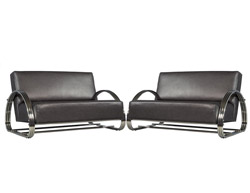 Pair Of Leather And Chrome Loveseat Settees By Famous American Designer