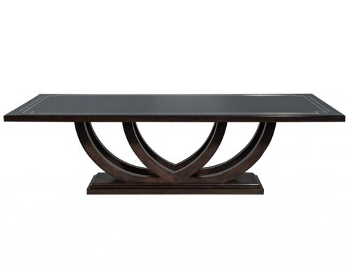 Carrocel Custom Walnut Dining Table with Polished Metal Inlay Detail & Curved Base