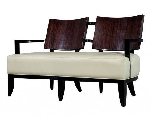 Modern Leather Art Deco Style Settee Bench