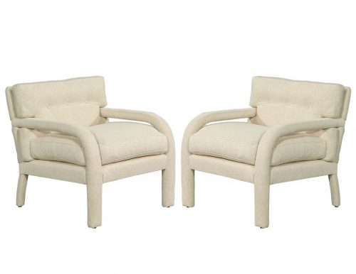 Pair of Modernist Upholstered Parlor Arm Chairs