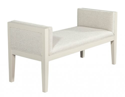 Upholstered Modern Cream Hall Bench attributed to Baker Milling Road
