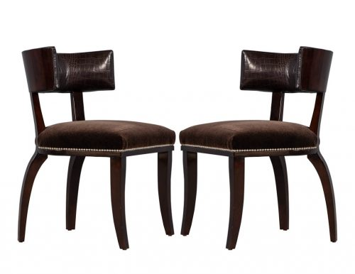 Pair of Leather Clivedon Side Chairs