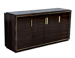 Macassar Marble Top Sideboard Credenza Buffet