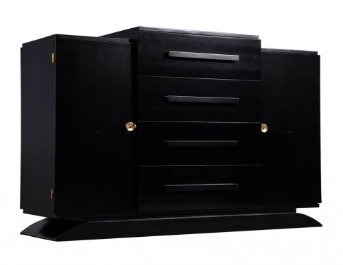 Antique Art Deco Black Lacquer Sideboard Buffet