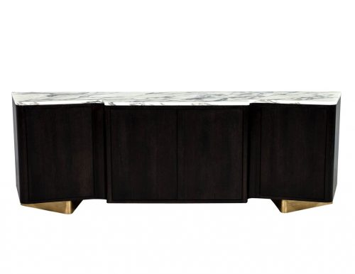 Carrocel Custom Serpentine Modern Styled Marble Top Sideboard Buffet