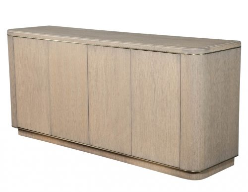 Carrocel Custom Cerused Oak Sideboard Buffet with Brass Accents