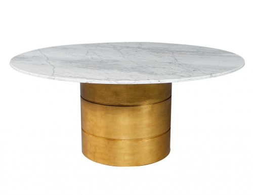 Carrocel Custom Marble Top Dining Table with Gold Leafed Bezel Base