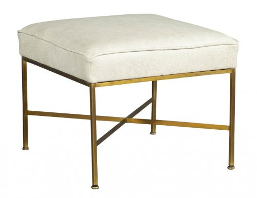 Modern Brass Leather Stool