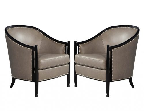 Pair of Art Deco Leather Black Lacquered Parlor Chairs