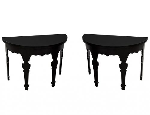 Pair of Demi lune Half Moon Console Tables in Piano Black Lacquer