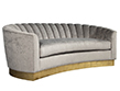 Custom Curved Channel Back Sofa Couch
