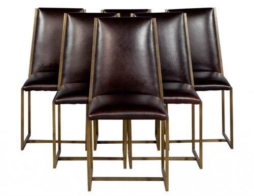 Set of 6 Mastercraft Brass Patina Dining Chairs