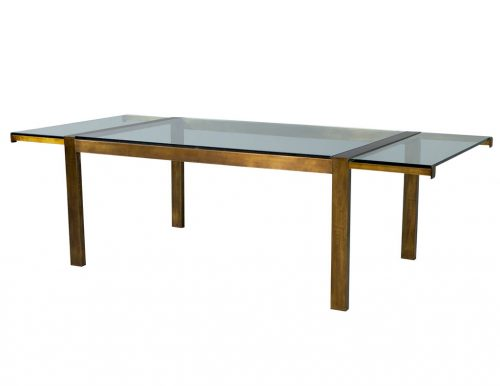 Original Vintage Mastercraft Aged Brass Extendable Dining Table