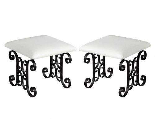 Pair of Wrought Iron Leather Stools