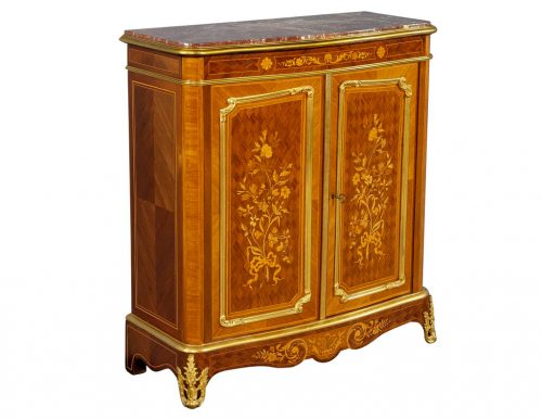 Antique French Louis XV Style Marble Top Commode with Floral Marquetry
