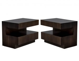 Custom Modern Walnut Two Tier Nightstands End Tables