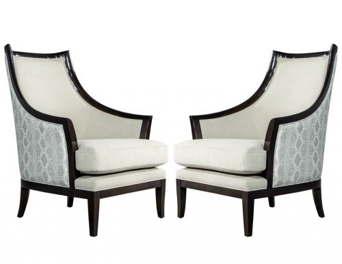 Pair of Modern Art Deco Style Curved Back Lounge Chairs by Carrocel