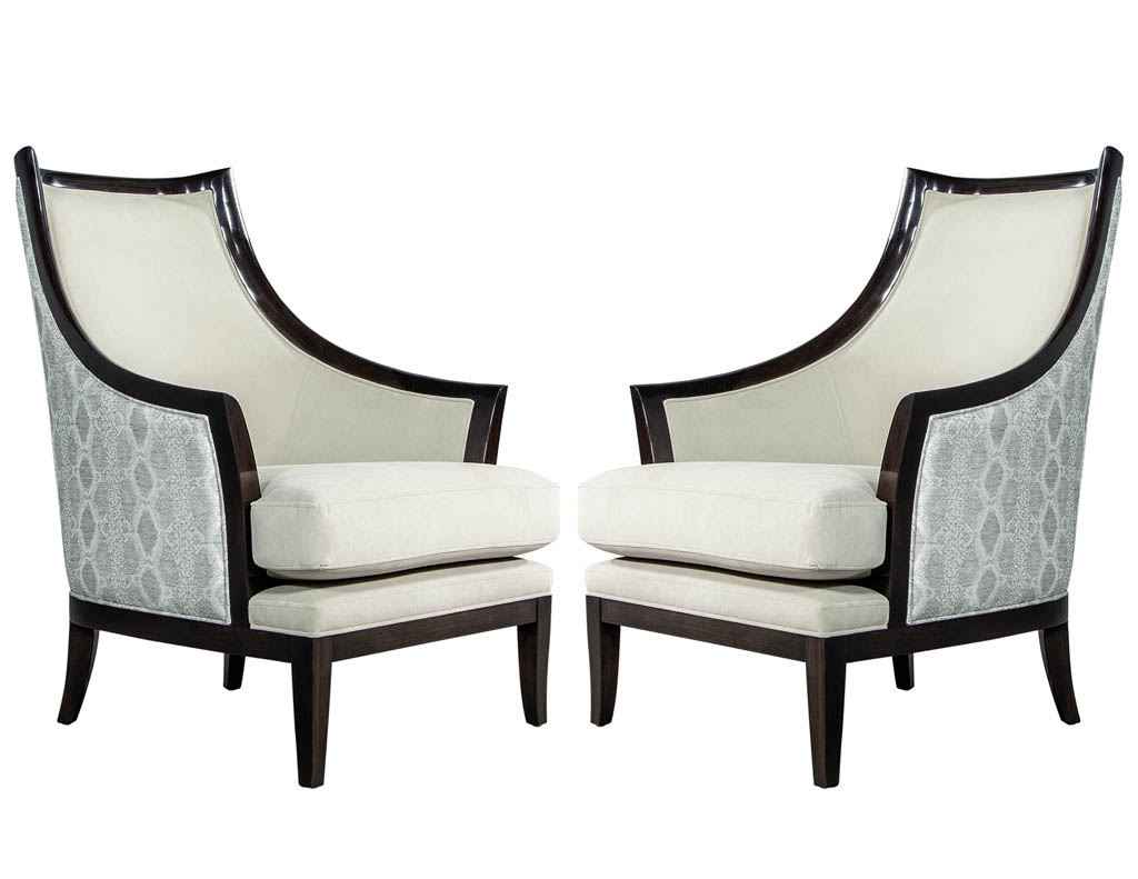 Incredible Pair Of Modern Art Deco Style Curved Back Lounge Chairs By Carrocel Spiritservingveterans Wood Chair Design Ideas Spiritservingveteransorg