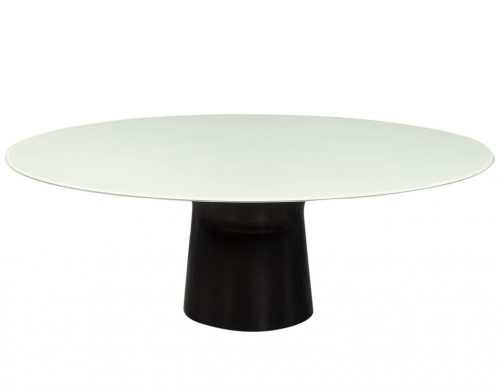 Custom White Glass Dining Table with Cyclone Base