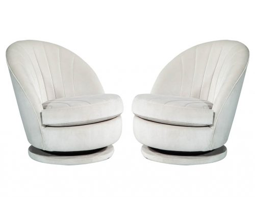 Pair of Milo Baughman Swivel Parlor Chairs