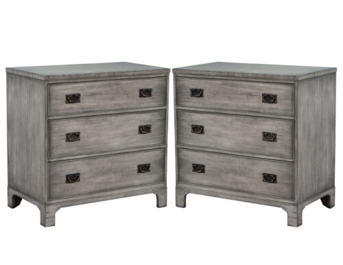 Pair of Modern Grey Distressed Chests by Kittinger