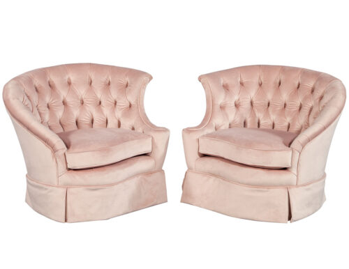 Pair of Vintage Boudoir Rose Velvet Lounge Chairs